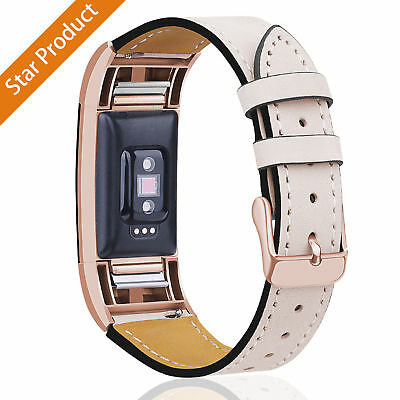 New Genuine Leather Replacement Band Strap WristBand For Fitbit Charge 2