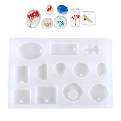 12X Silicone Mould Mold For DIY Resin Round Necklace Pendant Making Tool White