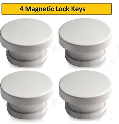 4 lock Keys-Invisible Magnetic Baby Child Pet Proof Cupboard Door Drawer Safety