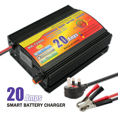 12V Leisure Battery Charger 20 Amp 230v - 12v 20A Boat 4WD Caravan Motorcycle
