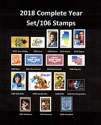 2018 Commemoritive/Definiive year set (107 Stamps) - MNH