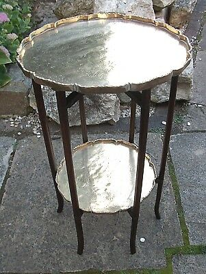 Antique Chinese Rosewood  Folding  2 Tiered Side Table With Brass Trays