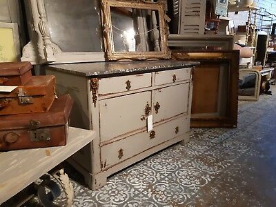 French C.1890 Antique Chest of Drawers with Marble Top