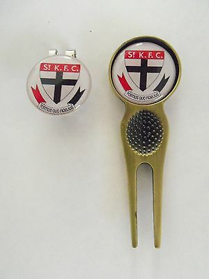 2 Only St Kilda Saints Golf Ball Markers, A Quality  Divot Tool &  Hat Clip