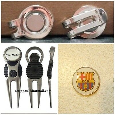 2 Golf Ball Markers Barcelona  Fc  Plus A Divot Tool &  Hat Clip