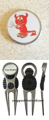 1 only WHITE  RED DEVIL GOLF BALL MARKER WITH NICE  DIVOT TOOL