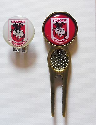 2 only  ST GEORGE ILLAWARRA DRAGONS GOLF BALL MARKERS & A  DIVOT TOOL & HAT CLIP