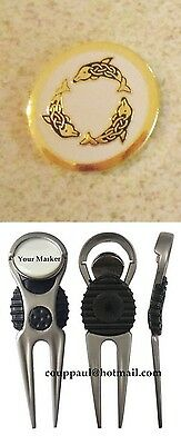 1 only WHITE  DOLPHINS GOLF BALL MARKER WITH NICE  DIVOT TOOL