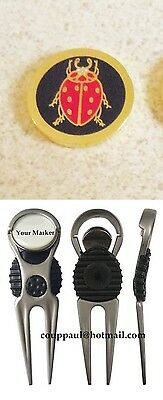 1 only BLACK & RED BEETLE GOLF BALL MARKER WITH NICE  DIVOT TOOL