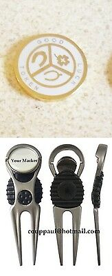 1 only WHITE  GOOD LUCK TOKEN GOLF BALL MARKER WITH NICE  DIVOT TOOL