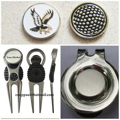 2 only EAGLE  GOLF BALL MARKERS WITH NICE  DIVOT TOOL &  HAT CLIP SET