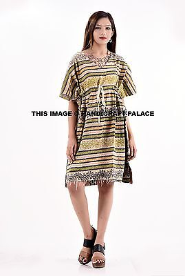 Indian Kantha Work Vintage Cotton Kaftan Dress Batik One Size Plus Beach Wear