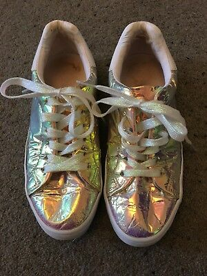 Girls Size 5 Next Holographic Pumps *Worn Once* FREE POSTAGE