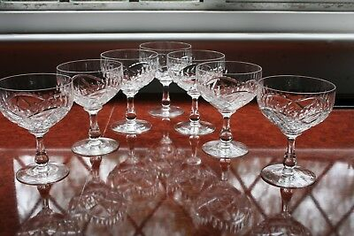 "7 Edinburgh Crystal Champagne Glasses  Very Good Condition Signed 4.1/2"" Tall"