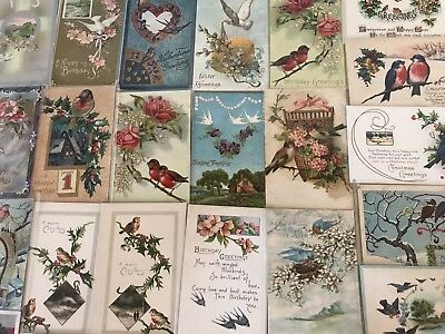 Lot of 30 Vintage Holidays & Greetings Postcards all with *BIRDS~Bird-h220