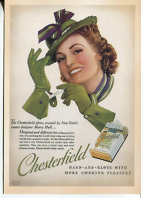 Post Card With Magazine Advertisement Chesterfield Cigarettes