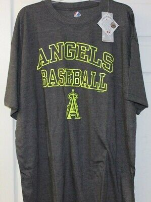Los Angeles Angels Of Anaheim Antracite Neon Majestic T Shirt Grande e Grosso