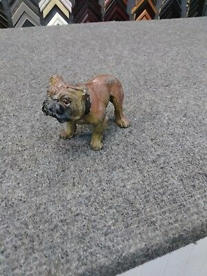 Antique Painted Spelter Metal Bull Dog Hole in Side Distressed Believed German