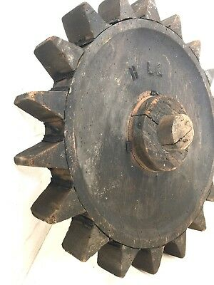 """Vtg 16 3/4"""" Wood Foundry Mold Form Pattern Industrial Gear Steampunk Man Cave"""