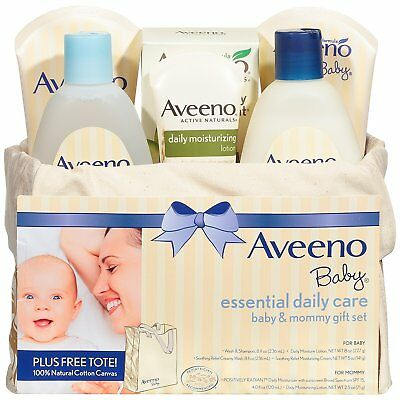 Aveeno Baby Essential Daily Care Baby & Mommy  Skincare Gift Set, 8 items