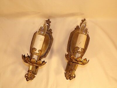 Vintage / Antique Cast Iron Candlestick Wall Sconce Architectural Light Fixture