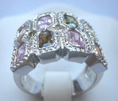 Sterling Silver Multi-Stone Stain Glass Look Ring Size 8