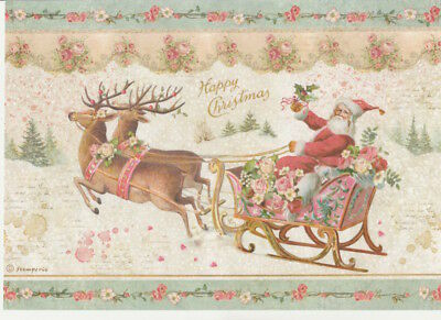 Rice Paper -Pink Christmas Santa Claus - for Decoupage Scrapbook Craft