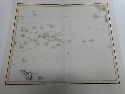 100% Original Large South Pacific Islands Map By W Lizars C1845 Vgc