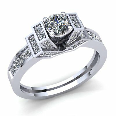 Genuine 0.75ct Round Cut Diamond Ladies Solitaire Fancy Engagement Ring 18K Gold