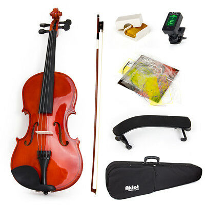 Violin 4/4 Full Size Acoustic Fiddle with Bow Tuner String for Kids Beginners