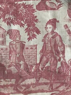 "Antique C1810 French Toile de Jouy Beautiran Panel Collectors Projects 17""/45"""
