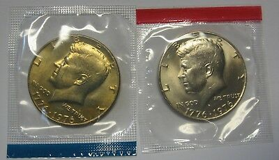 1976-P and 1976-D Gem BU Kennedy Half Dollars in Original Mint Cello Packs