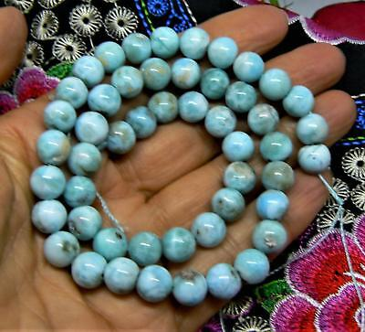 """NATURAL CARIBBEAN BLUE LARIMAR ROUND BEADS 8mm 204cts 15.5"""" STRAND"""