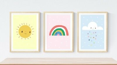 3 Sun Sunshine Rainbow Cloud Prints Modern Nursery Room Girls Wall Art Pictures