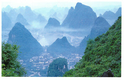 China: A Bird's Eye View of Yangshuo Rare Scenic Mountain Picture Postcard