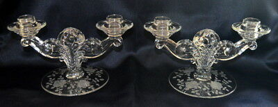 Vintage Double Candlesticks - Set of 2 - Glass with rose etching