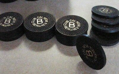 20 BLACK CASINO ROULETTE CHIPS CLAY COMPOSITE CHIP Lot w/LIGHT USE - NICE!