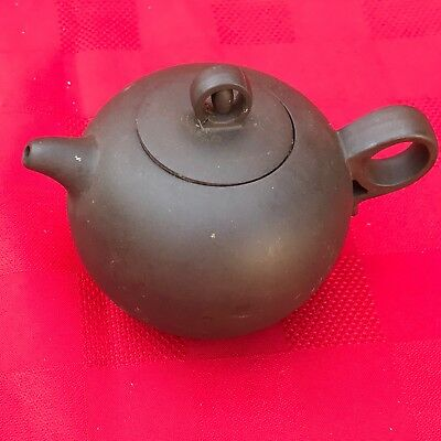 Lovely signed vintage small Chinese Yixing Zisha ?Purple Clay Teapot w/ handle