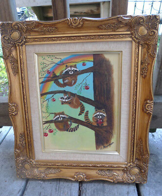 20th Century Whimsical Painting Raccoons Climb for Apples Signed