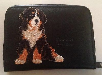 Bernese Mountain Dog Design Leather Wallet Credit Card ID Holder