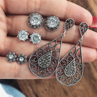 4Pairs/Set Bohemian Rhinestone Crystal Stud Earrings Women Charm Party Jewelry T