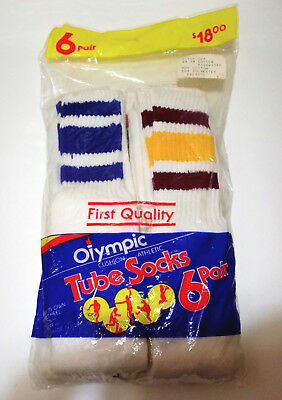 Vintage Olympic Stripe Athletic Tube Socks 24 Inch Style 224 USA Made DEADSTOCK
