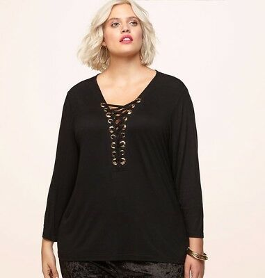 5fe07d43c AVENUE X LORALETTE Lace-up Grommet Top, Size 1X NEW $42 - $38.00 ...