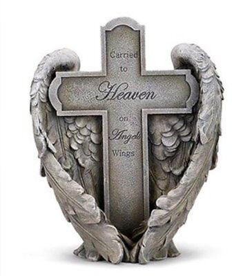Memorial Outdoor Statue Cross Carried to Heaven on Angel Wings 11 inch Cat Dog