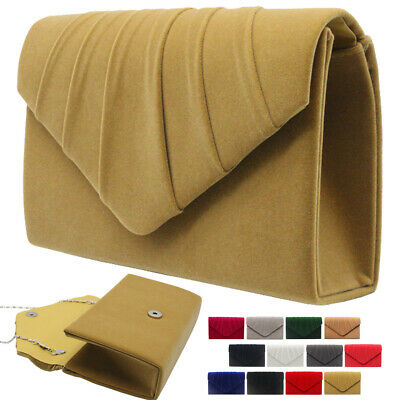 Ladies Suede Leather Clutch Evening Hand Bag Tote Bags Prom Party Shoulder Bag
