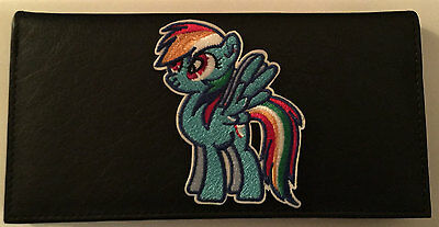 My Little Pony Rainbow Dash Black Leather Checkbook Cover Free Shipping MLP