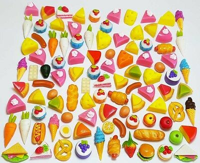 100 Dollhouse Miniature Mixed Food Set *Doll Mini Cakes Bakery Fruit Veg Lot z12