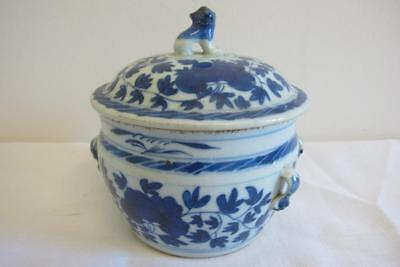 Antique Chinese Blue & White Lidded Jar w. Foo Dog Finial – Ming Or Qing
