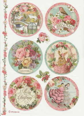 Rice Paper -Pink Christmas Balls - for Decoupage Scrapbook Craft