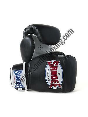 Sandee Authentic Velcro Black & White Synthetic Leather Kids Thai Boxing Gloves